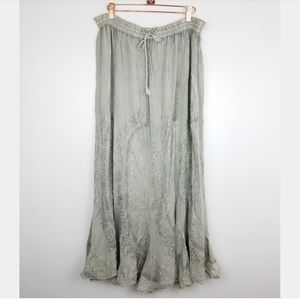 New! Flowing Boho Maxi Skirt Silver